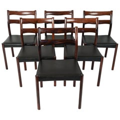Set of Six Ole Wanscher Style Rosewood and Black Leather Side Chairs