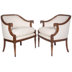 Pair of Carved Mahogany Armchairs, German, 1930s