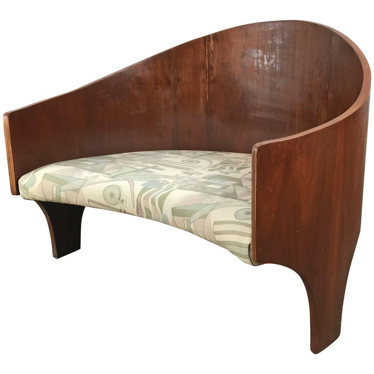 Rare Henry Glass Intimate Island Lounge Chair Curved Walnut Multi-Ply