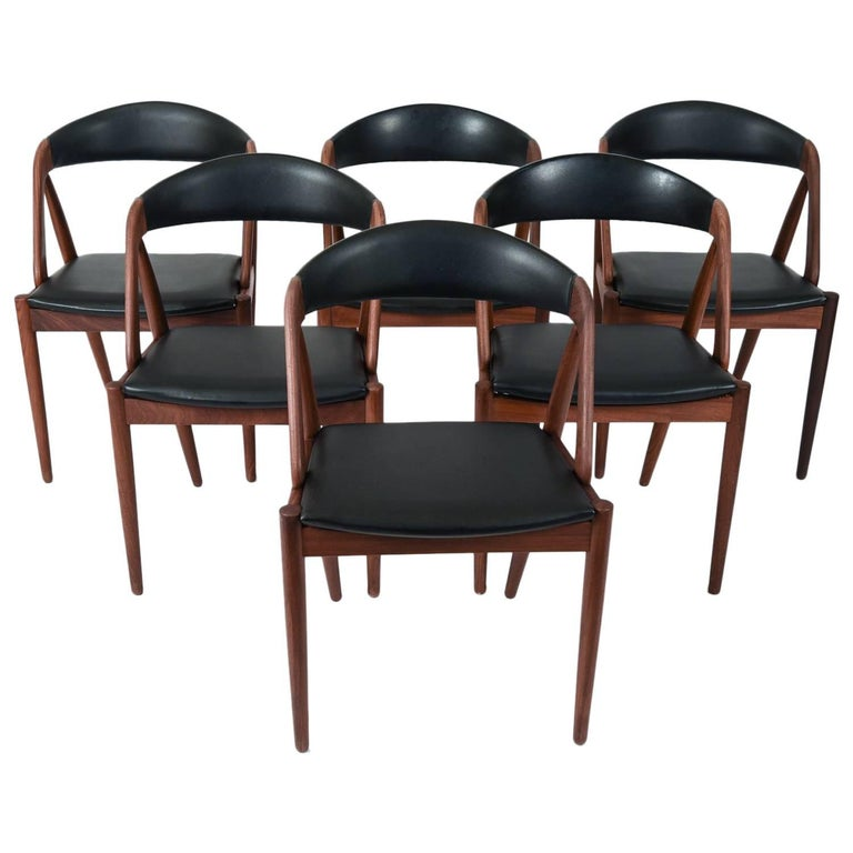 Set of Six Danish Leather and Teak Dining Chairs by Kai Kristiansen Model 31