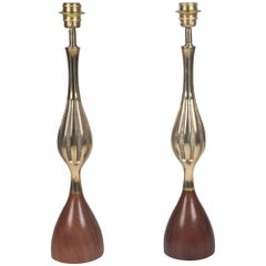 Fluted Bronze Tapered Tables Lamps, American, 1960s