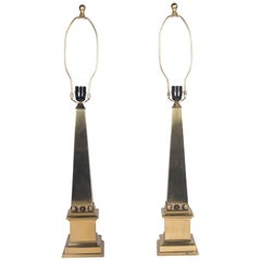 Brass Obelisk Table Lamps by Marbro, American, 1960s