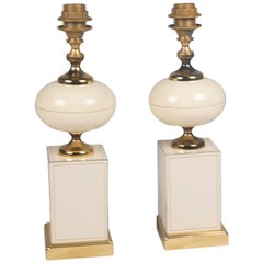 Lacquered and Brass Table Lamps by Maison Jansen, French, 1970s