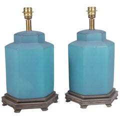 Pair of Blue Glazed Ceramic Table Lamps by Marbro