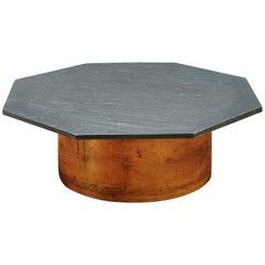 1970s Postmodern Octagonal Slate Coffee Table