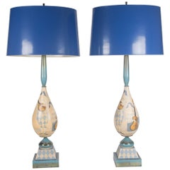 Italian Hand-Painted Wood Table Lamps, 1930s