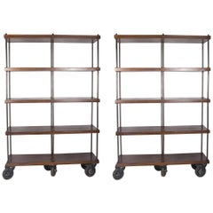 Pair of Mahogany Rolling Shelves, American, 1950s