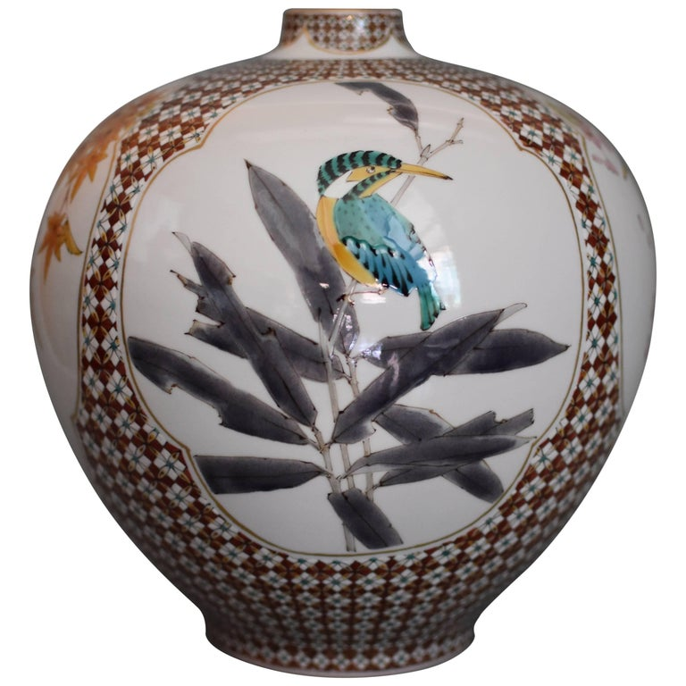 Japanese Ovoid Decorative Kutani Porcelain Vase by Master Artist