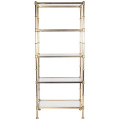 Fluted Brass Shelving Unit, Clear Glass Shelves, American, 1960s
