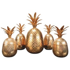 Hollywood Regency Brass Pineapple Sculpture Trinket Boxes Set of Five