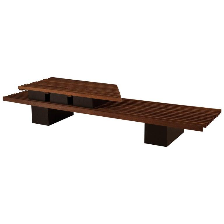 Mid Century Two-Tier Studio Slat Bench Coffee Table
