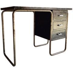 Thonet Tubular Steel Desk Writing Table Pedestal, circa 1930s
