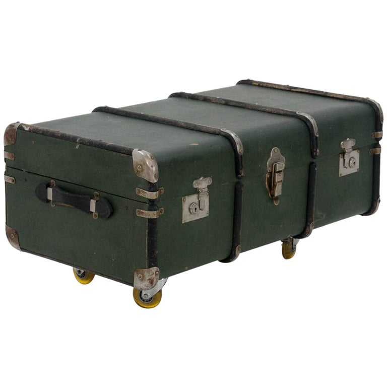 Dark Green 1930s Steamer Trunk Coffee Table For Sale At 1stdibs