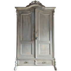 Antique French Painted Armoire Wardrobe Solid Pine Painted Distressed