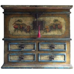 Antique Blanket Box Chest Trunk Coffer French Painted, 19th Century