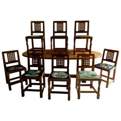 Robert 'Mouseman' Thompson of Kilburn Solid Oak Dining Table and Eight Chairs
