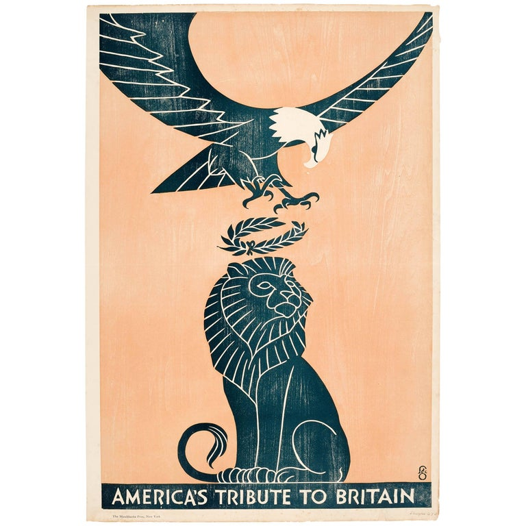 Original Woodcut Design 1917 World War One Poster - America's Tribute To Britain