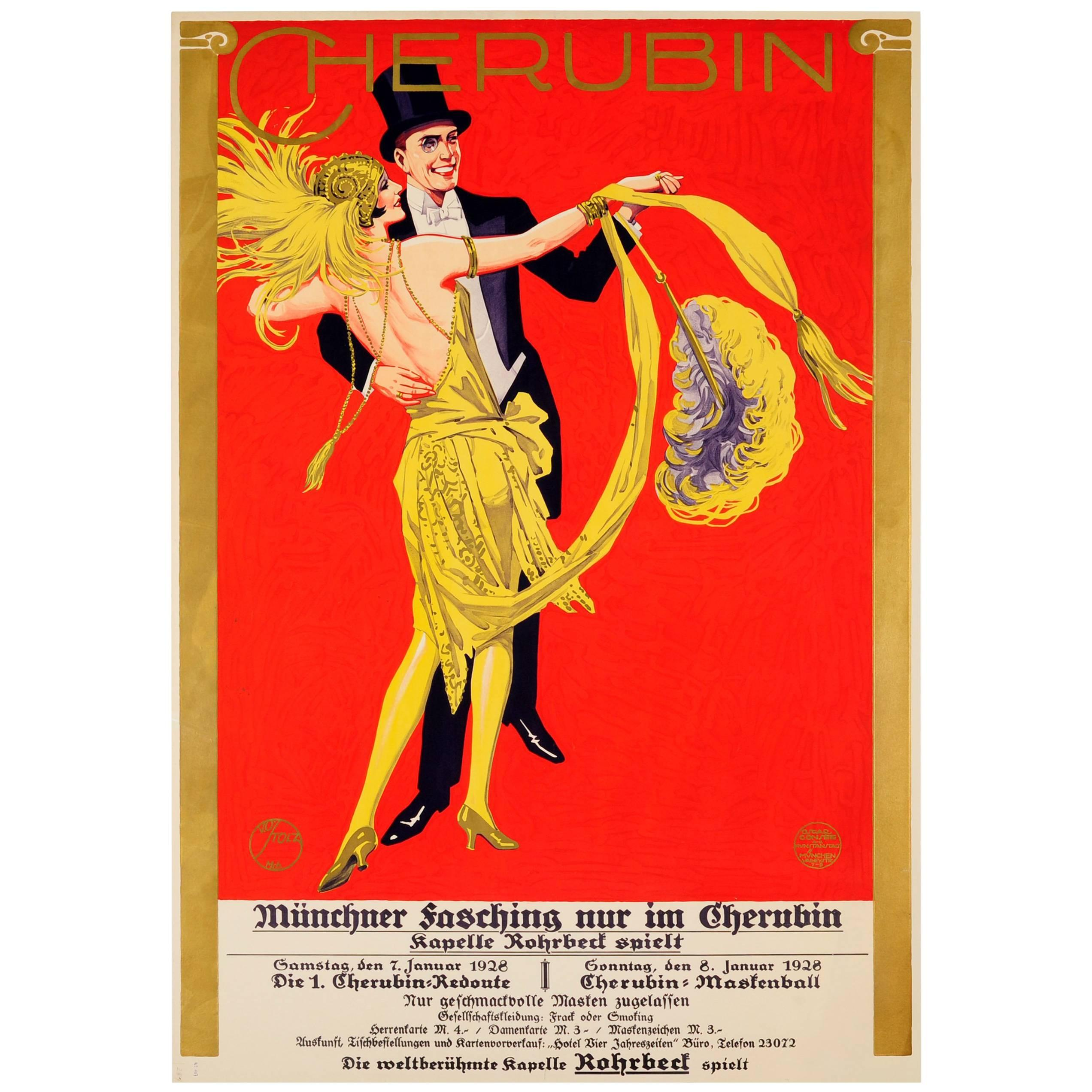 Original Vintage Dance Poster for the Munich Fasching Carnival at the Cherubin