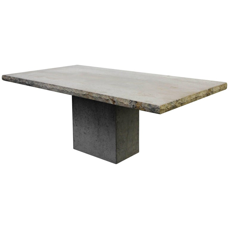 Italian Travertine Concrete Industrial Pedestal Dining Table For Sale