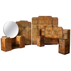 English Art Deco Burr Walnut Bedroom Suite Attributed to H & L Epstein