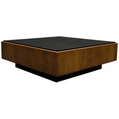 Mid-Century Oak and Slate Floating Square Coffee Table by Milo Baughman