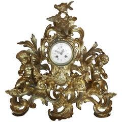 Italian Baroque Gilded Bronze Table Clock Triptych