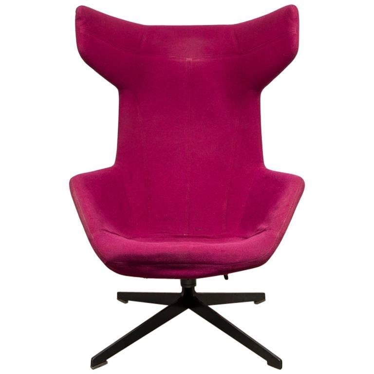 Merveilleux Moroso Lounge Swivel Wingback Chair By Alfredo Haberli, Italy For Sale