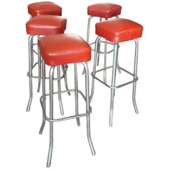Five Red Leather Stools