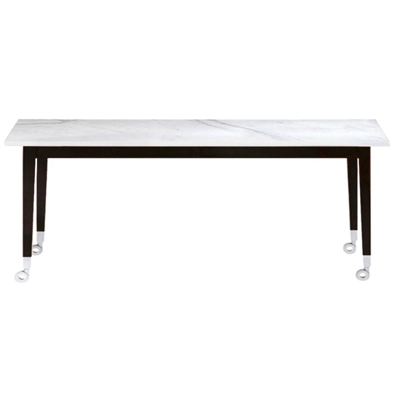 """Neoz"" Carrara Marble Castored Console Table Designed by P. Starck for Driade For Sale"