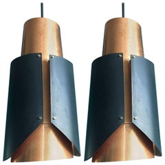 Pair of Vintage Bent Karlby Osterport Pendant Lights Produced by Lyfa in Denmark