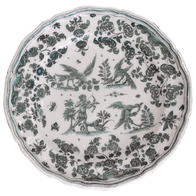 Moustiers 'France', 18th Century, Plate Earthenware with Grotesque Fantasy For Sale