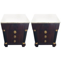 Neoclassical Style Italian Mahogany Marble Bachelor Chests or Nightstands, Pair