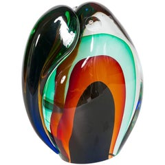 Italian Toucan Sculpture in Multi-Colors Murano Glass, 1990s by Romano Donà