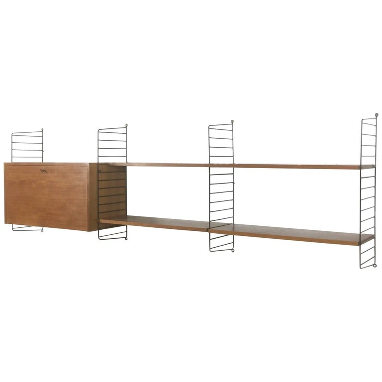 Original 1960s Modular String Wall Unit in Walnut by Nisse Strinning, Sweden