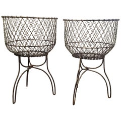 Pair of Antique American Victorian Wire Baskets, Late 19th-Early 20th Century