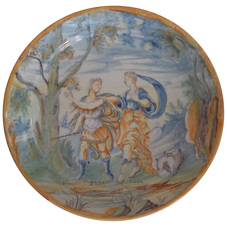 Nevers 'France', Plate Decorated with King Picus and Circé, 18th Century