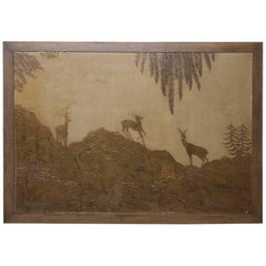 Art Deco Period Engraved Copper Framed Art