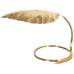 Large Refurbished Brass Rhubarb Table Lamp Tommaso Barbi, Italy, 1970