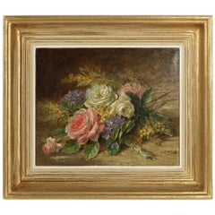 Camille Aimé Wolf Oil on Canvas Late 19th Century, Roses Bouquet on Marble Ledge