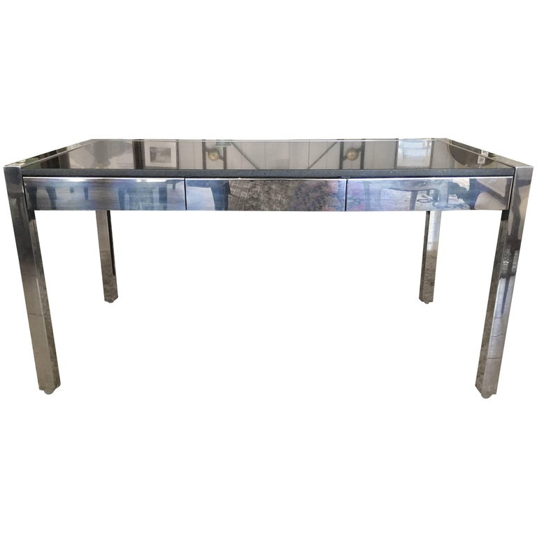 Chic Pace Chrome And Granite Mid Century Modern Desk For