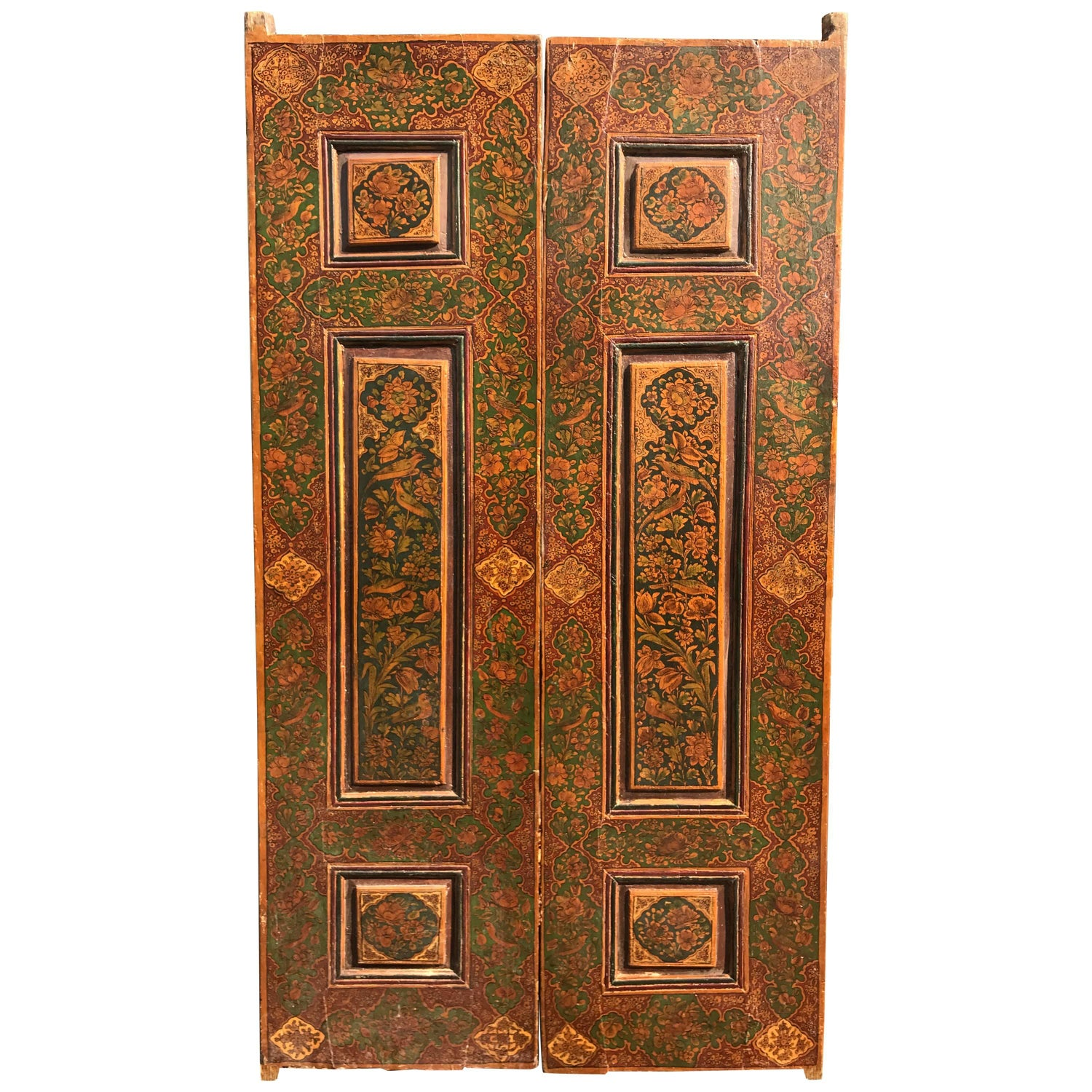 """Antique Pair of Hand-Painted """"Birds & Flowers"""" Raised Panel  Doors - Antique And Vintage Doors And Gates - 1,164 For Sale At 1stdibs"""