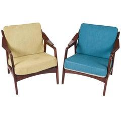 Pair of Teak Danish Easy Chairs by H. Brockmann Petersen for Poul M. Jessen
