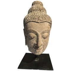Large Serene Antique Buddha Stone Head Thai Ayuttaya Period, 18th Century