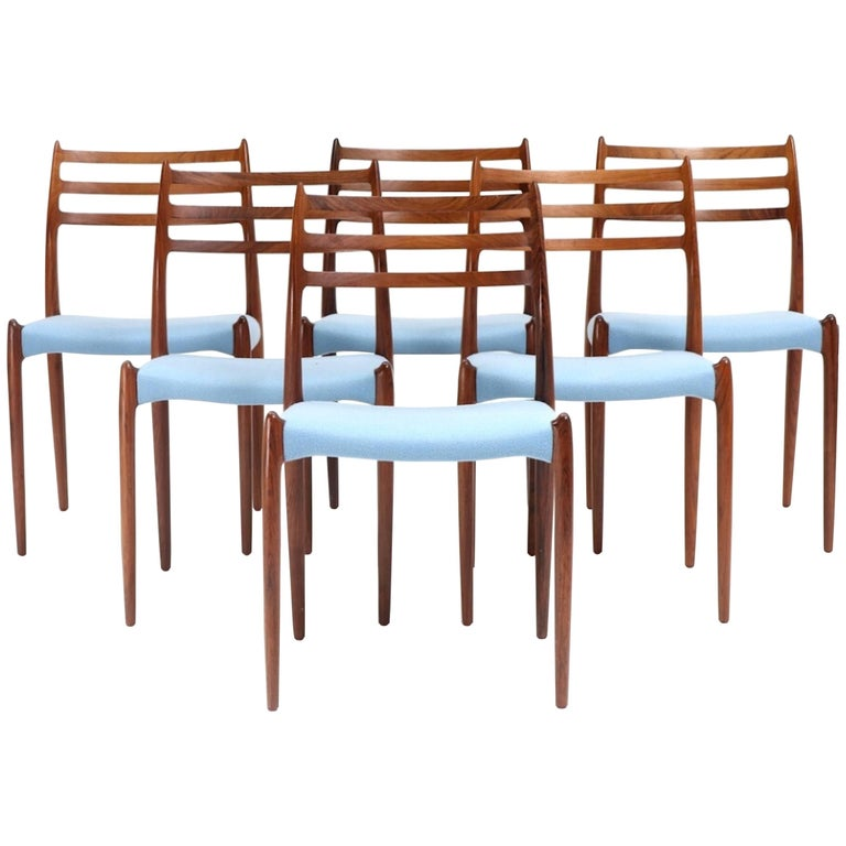 Set of Six Niels Moller Rosewood Dining Chairs Model 78 for J.L. Moller, 1956