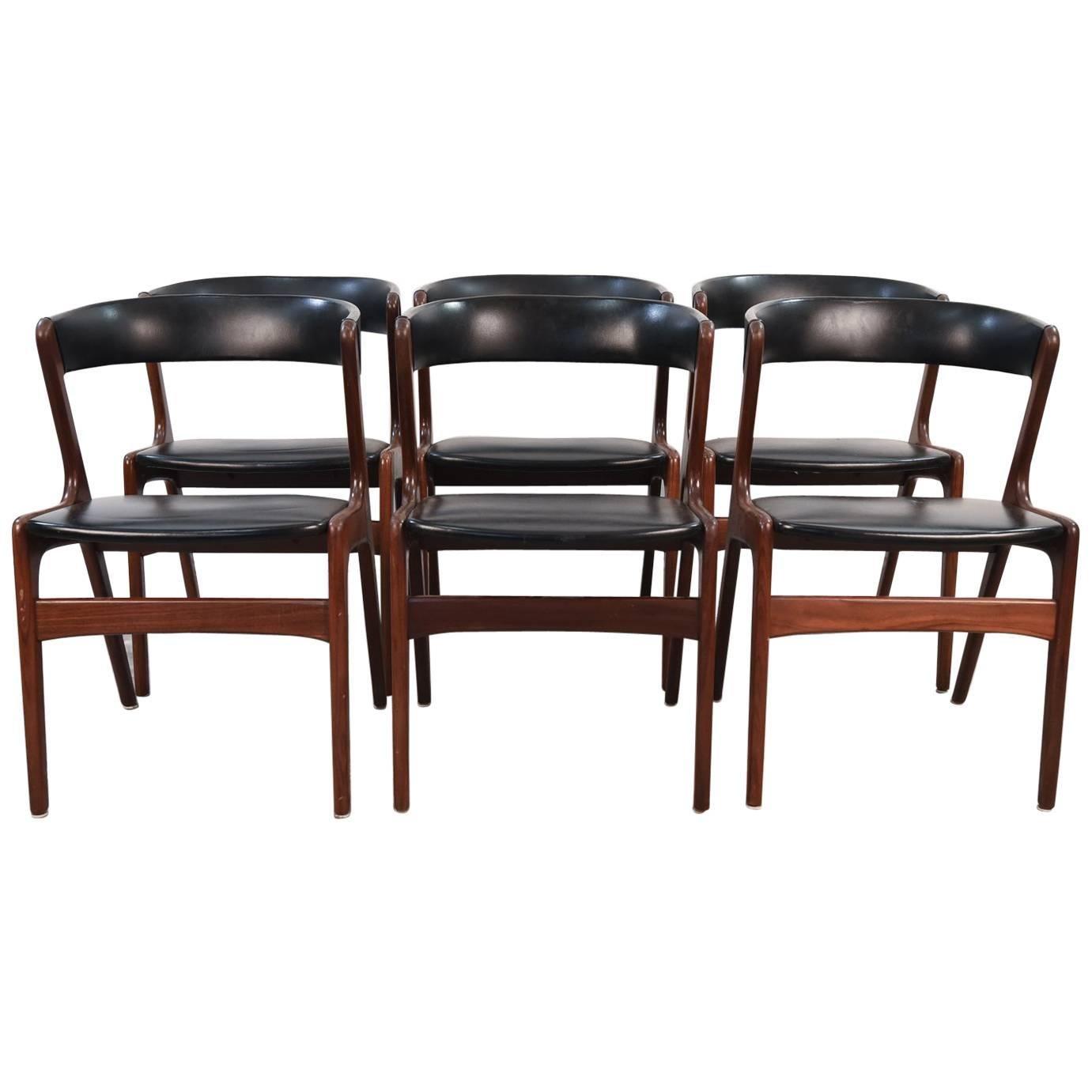 set of six danish midcentury teak and black skai seat side chairs by omann jr