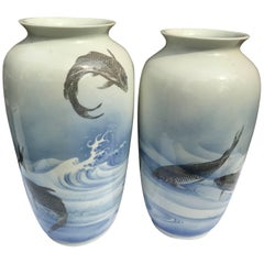 Monumental Japanese Antique Koi & Wave Vases Hand-Painted, Early 20th Century