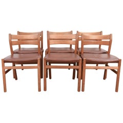 Set of Six Danish BM1 Oak Dining Chairs by Børge Mogensen for C.M. Madsen, 1960s