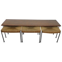 Arthur Umanoff Maple Bench and Set of Stools for Raymor