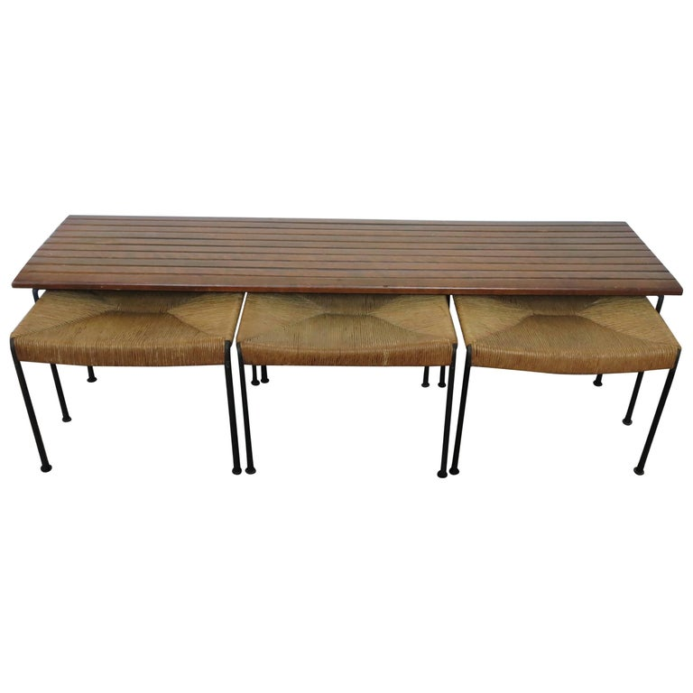 Arthur Umanoff Maple Bench and Set of Nesting Stools for Raymor