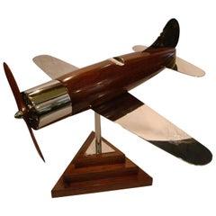 20th Century, Art Deco Streamline Airplane Wooden Model Sculpture, 1930s